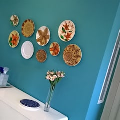 Cores e arte: Salas de jantar  por Fabio Pantaleão Arquitetura+Interiores