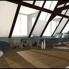 Maison de 207m²: Salle multimédia de style  par Francine Soher