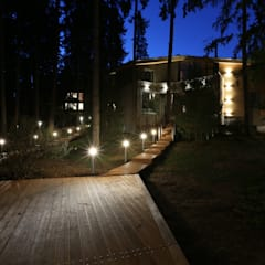 Главный дом в ночном освещение ORT-interiors Дома в стиле минимализм