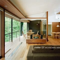 015軽井沢Tさんの家: atelier137 ARCHITECTURAL DESIGN OFFICEが手掛けたリビングです。,クラシック 木 木目調