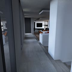 Maison contemporaine Aix-en-Provence intérieur: Couloir et hall d'entrée de style  par ARRIVETZ & BELLE