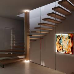 MISTRAL - Gewendelte Holztreppe mit Glaswand - bei Nacht - RENDERING:  Flur & Diele von Siller Treppen/Stairs/Scale
