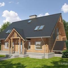 LK&909 perspektywa frontowa 2: styl , w kategorii Dom z drewna zaprojektowany przez LK & Projekt Sp. z o.o.