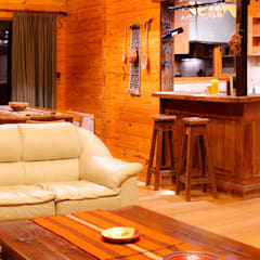 Ruang Keluarga Gaya Country Oleh Patagonia Log Homes - Arquitectos - Neuquén Country Kayu Wood effect