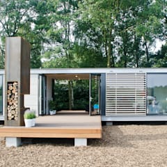 Panorama Prefab recreatiebungalow met guesthouse:  Huizen door Dingemans Architectuur, Modern