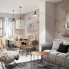 Wrocław / Grabiszynek, apartament 92m2: styl , w kategorii Salon zaprojektowany przez razoo-architekci