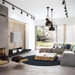 industrial Living room by razoo-architekci