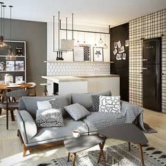 Warszawa / Praga, mieszkanie dwupoziomowe 62m2: styl , w kategorii Salon zaprojektowany przez razoo-architekci