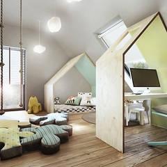 Mokronos k. Wrocławia, dom-163m2: styl , w kategorii Pokój dziecięcy zaprojektowany przez razoo-architekci