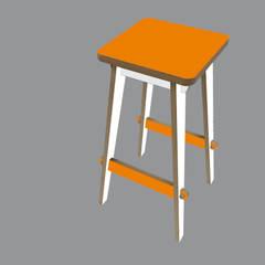 Timor Bar Stool - White and Tangerine:  Media room by SOAP designs