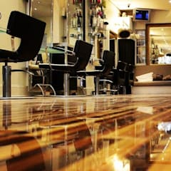 Upmarket St Johns Wood hair salon installs Designer Stripes:  Walls by Floorless Floors Ltd, Mediterranean