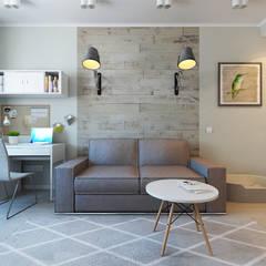 Квартира для молодой девушки: Гостиная в . Автор – Ekaterina Donde Design, Скандинавский