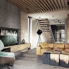 Bielsko-Biała, dom - 230m2: styl , w kategorii Salon zaprojektowany przez razoo-architekci