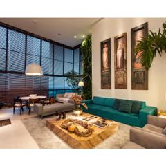 Sala de Estar integrada a varanda: Salas de estar ecléticas por Arquitetura 3