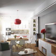 Cucina zona living: Soggiorno in stile in stile Moderno di Beniamino Faliti Architetto