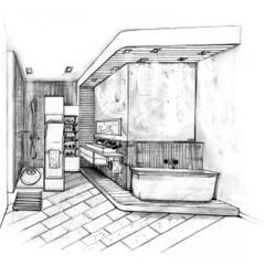Salle de bains familliale: Salle de bains de style  par POSITIV'AGENCEMENT
