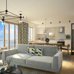 yücel partners – Villa Taşbaşı : iskandinav tarz tarz Oturma Odası