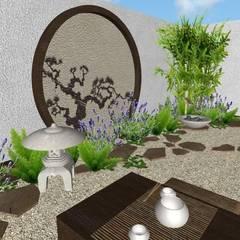 jardin oriental vista hacia la fuente: Jardines de estilo asiático por Zen Ambient
