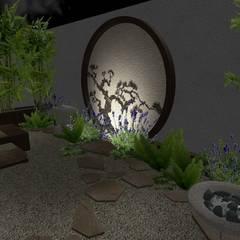 jardin oriental - vista de noche1: Jardines de estilo asiático por Zen Ambient