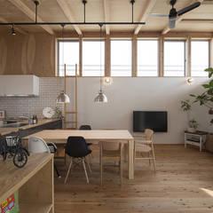 Moderne woonkamers van 株式会社建楽設計 Modern