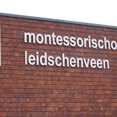 RVS gevelbelettering, reclameborden en displays:  Scholen door Kouwenbergh Machinefabriek B.V.