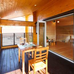 江南市に建つログハウスの家: 木の家株式会社が手掛けたテラス・ベランダです。,カントリー