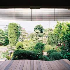 大木を柱に3本使った家: 遠藤浩建築設計事務所 H,ENDOH  ARCHTECT  &  ASSOCIATESが手掛けたテラス・ベランダです。,カントリー