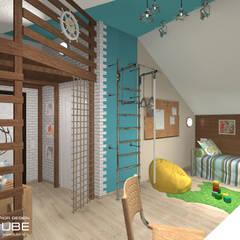 Дизайн детской комнаты для мальчика в мансардном этаже частного дома: Детские комнаты в . Автор – Лаборатория дизайна 'КУБ',