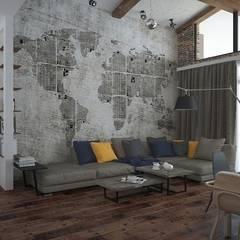 Лофт, гостиная+кухня: Гостиная в . Автор – Мастерская архитектуры и дизайна FOX, Лофт