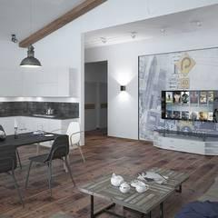 Лофт, гостиная+кухня: Кухни в . Автор – Мастерская архитектуры и дизайна FOX, Лофт