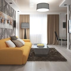 Однокомнатная квартира 40 кв.м.: Гостиная в . Автор – Мастерская архитектуры и дизайна FOX, Модерн