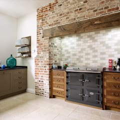 The Great Lodge | Large Grey Painted Kitchen With Exposed Brickwork: Country  Kitchen By Humphrey