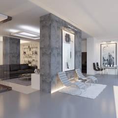 Студия-лофт в Тюмени: визуализация и дизайн: Гостиная в . Автор – OK Interior Design, Модерн