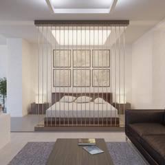 Студия-лофт в Тюмени: визуализация и дизайн: Спальни в . Автор – OK Interior Design, Лофт