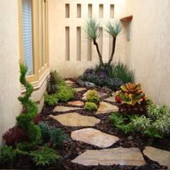 Jardin con laja y corteza de pino: Jardines de estilo moderno por Vivero Sofia