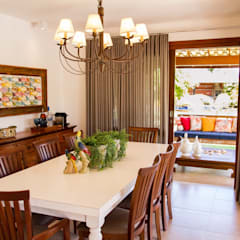 tropical Dining room by Jamile Lima Arquitetura