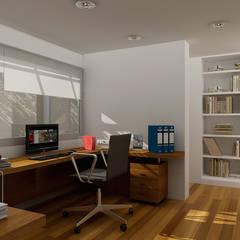 Renders interiores: Estudios y oficinas de estilo moderno por Entretrazos