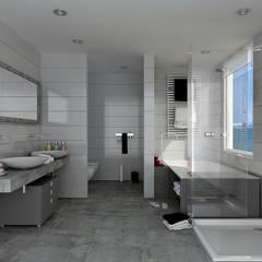 Renders interiores: Baños de estilo  por Entretrazos,Moderno