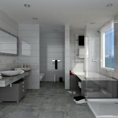 Renders interiores Baños modernos de Entretrazos Moderno