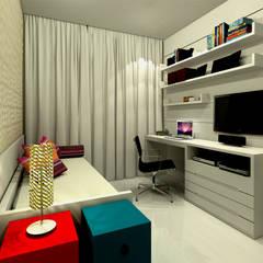 Quarto Carolina - Barra da Tijuca RJ: Quartos  por Konverto Interiores + Arquitetura