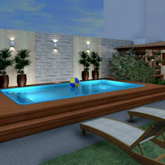 Espaço Gourmet, piscina e fachada - Residência RJ: Piscinas  por Konverto Interiores + Arquitetura