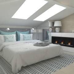 Sypialnia na poddaszu: styl , w kategorii Sypialnia zaprojektowany przez WNĘTRZNOŚCI Projektowanie wnętrz i mebli