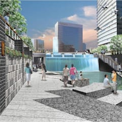 A view looking a cascade in ChengGye Plaza from the low stream side: Seo Ahn R&D Design Group의  정원