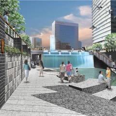 CheongGye Stream Restoration and CheongGye Plaza: Seo Ahn R&D Design Group의  정원,인더스트리얼