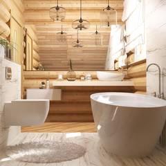 Интерьер бревенчатого дома: Ванные комнаты в . Автор – Мозжерина Марина