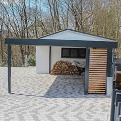 Carport mit Holzelementen: klassische Garage & Schuppen von ESB-Fertiggaragen und Carports