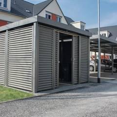 Carport als reiner Geräteraum mit Stahlwelle: klassische Garage & Schuppen von ESB-Fertiggaragen und Carports