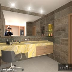AMPARO: Baños de estilo  por ANGOLO-grado arquitectónico, Mediterráneo Cerámico