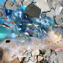 Concrete Underwater Vinyl Flooring:  Bathroom by Blue Butterfly Flooring