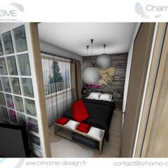 Valorisation Virtuelle - Appartement de montagne: Chambre de style  par Crhome Design